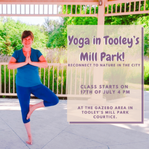 Frances in Tolley's Mill park doing Triangle Pose