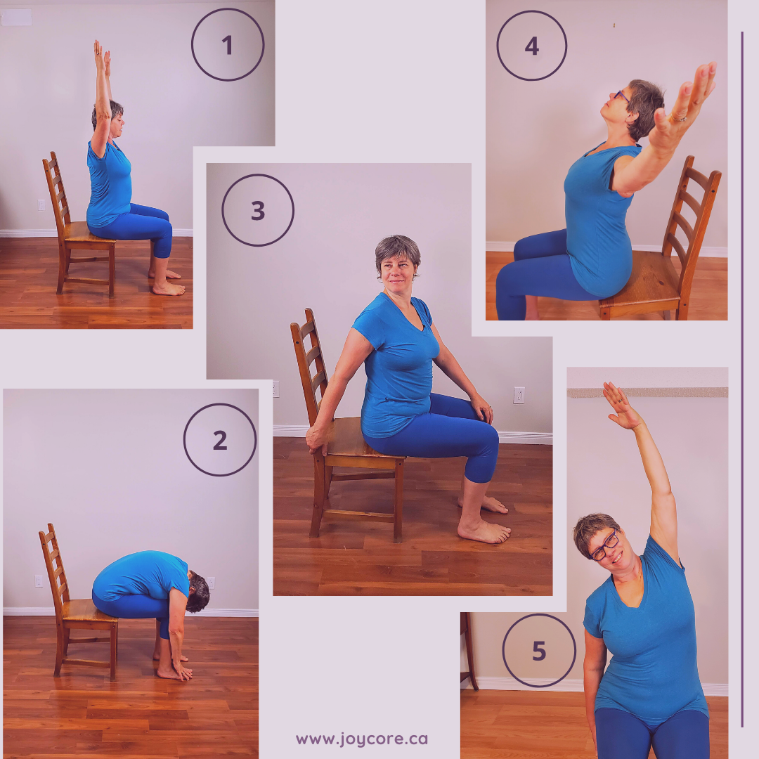 Frances practice Chair Yoga for lower back pain